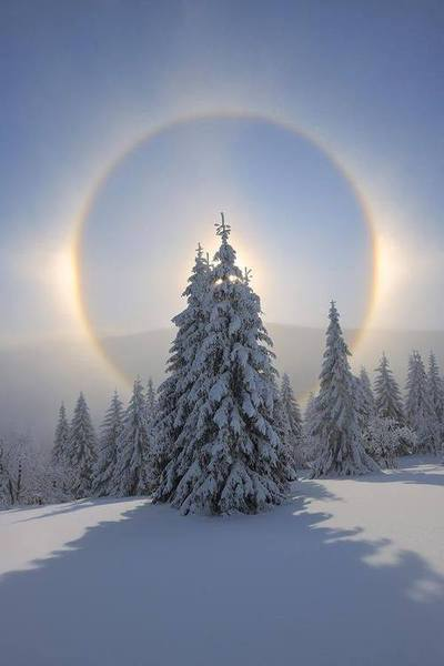 Snow-covered, Sun's halo