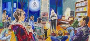 a color painting of a soirée